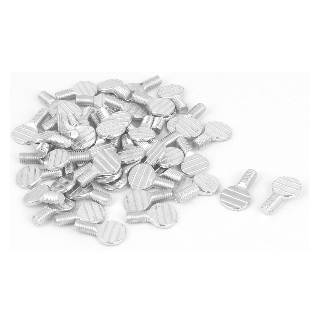 M5 x 10mm Thread Carbon Steel Flat Head Fingertight Thumb Screws 50 Pcs