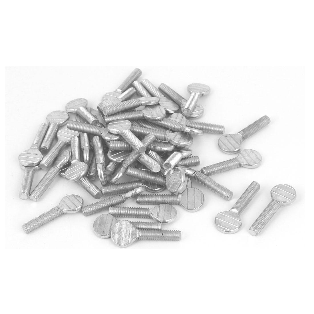 M5 x 20mm Machine Threaded Carbon Steel Racket Thumb Screws Bolts 50 Pcs