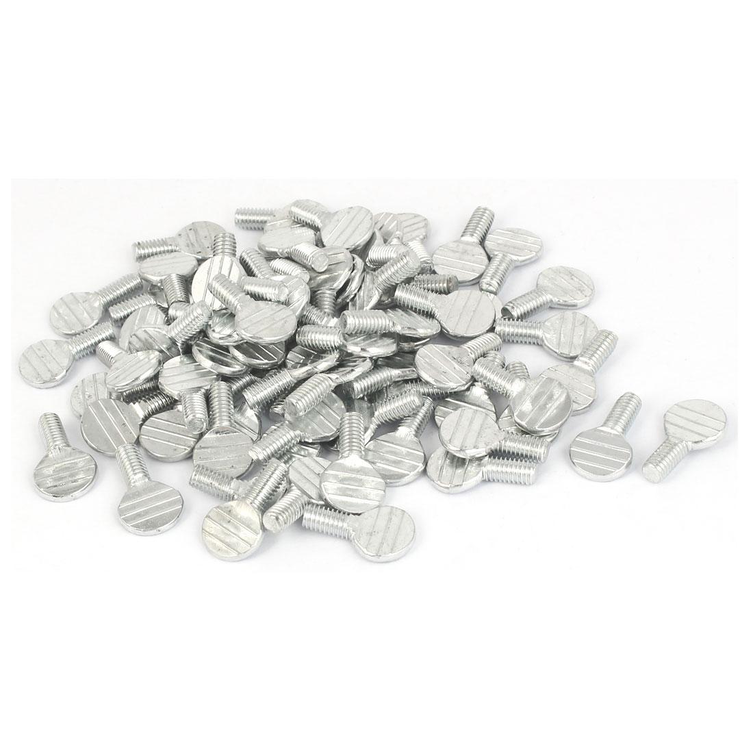 M6 x 12mm Thread Carbon Steel Flat Head Racket Thumb Screws 100 Pcs