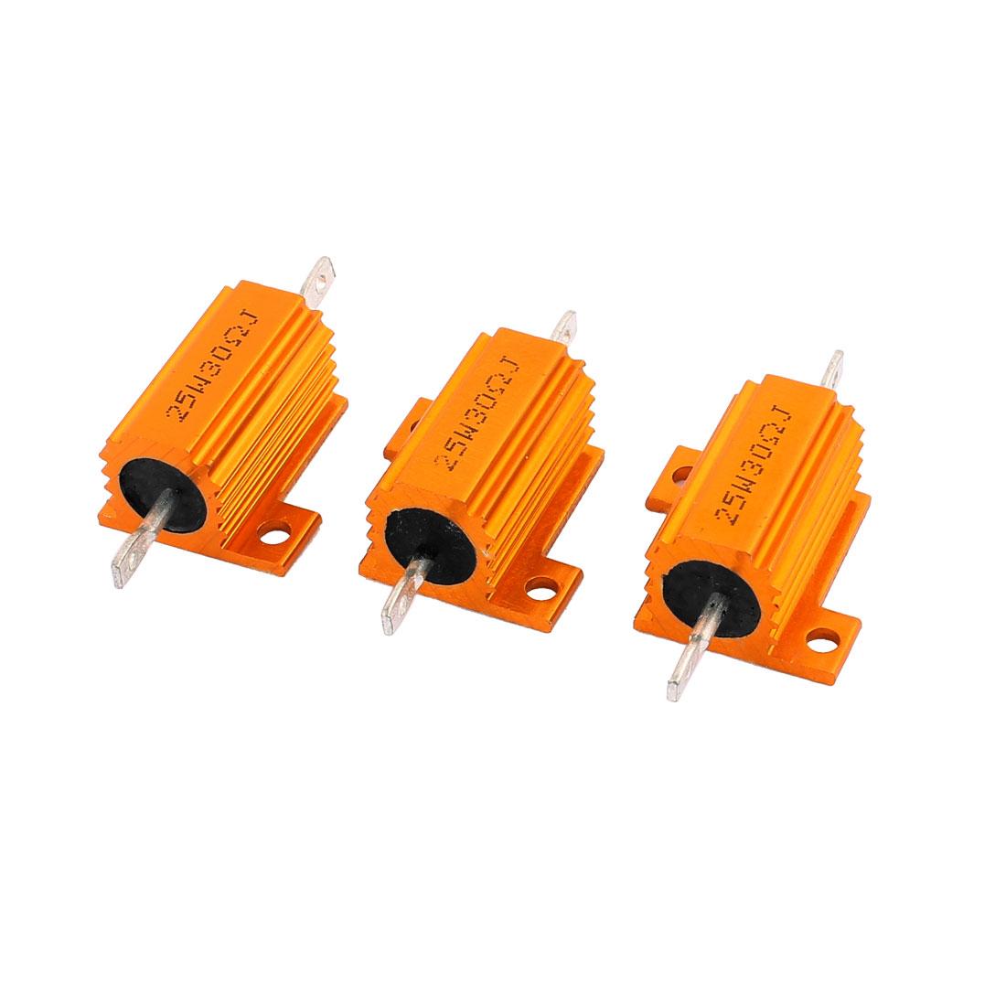 30 Ohm +/- 5% 25W Rose Gold Tone Aluminum Housed Wirewound Resistors 3 Pcs
