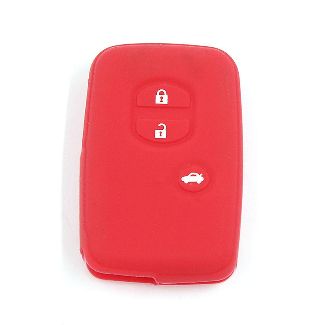 Red Silicone Car Remote Key Case Cover Fits Toyota Land Cruiser Prado(2010) 3BT