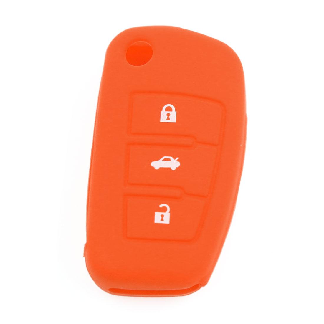 Orange Silicone Remote Fob Key Cover 3 Button for Audi A6L Q7 TT R8 A3 A4L 2009