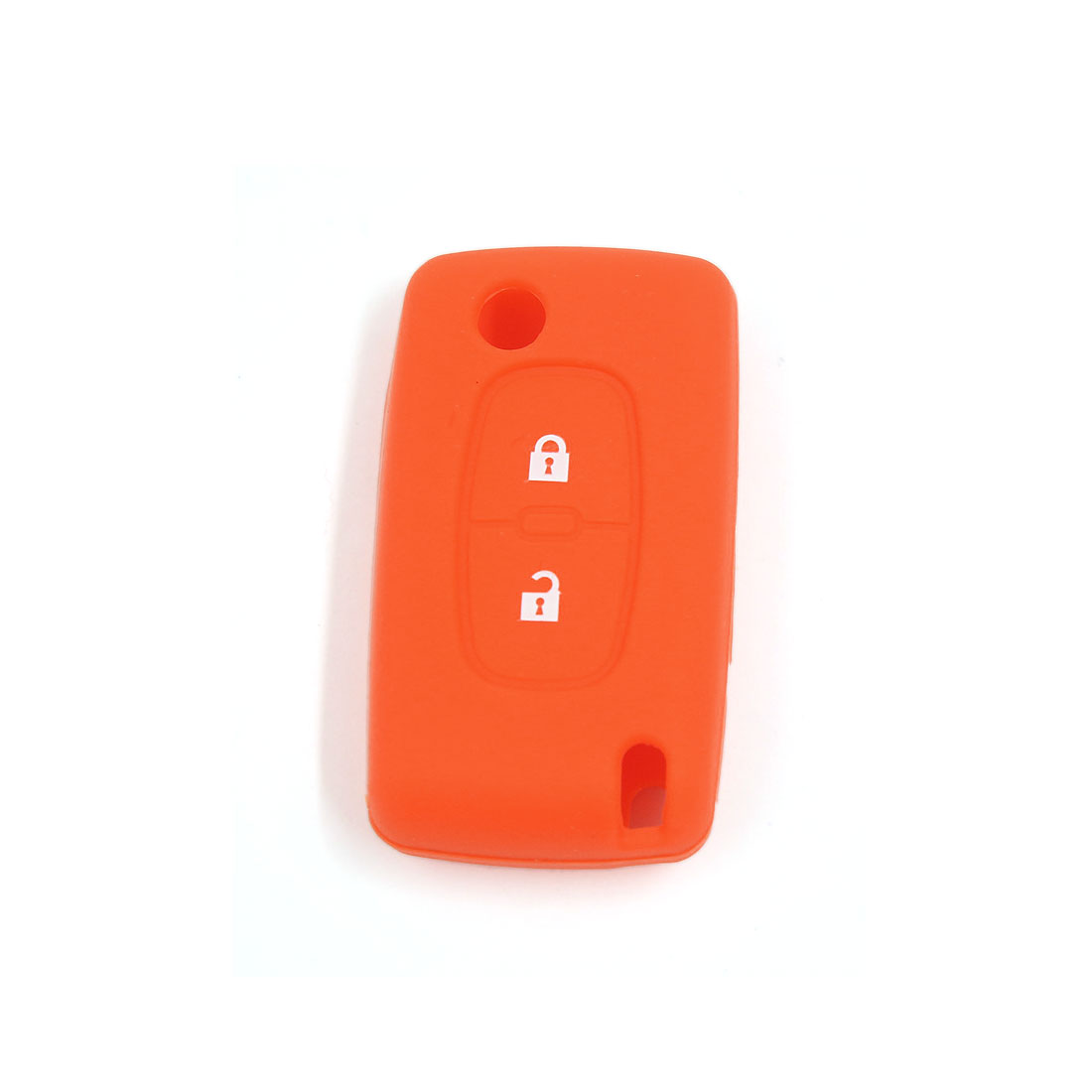 Orange 2 Button Silicone Keyless Remote Key Case Fob Cover Holder for Peugeot