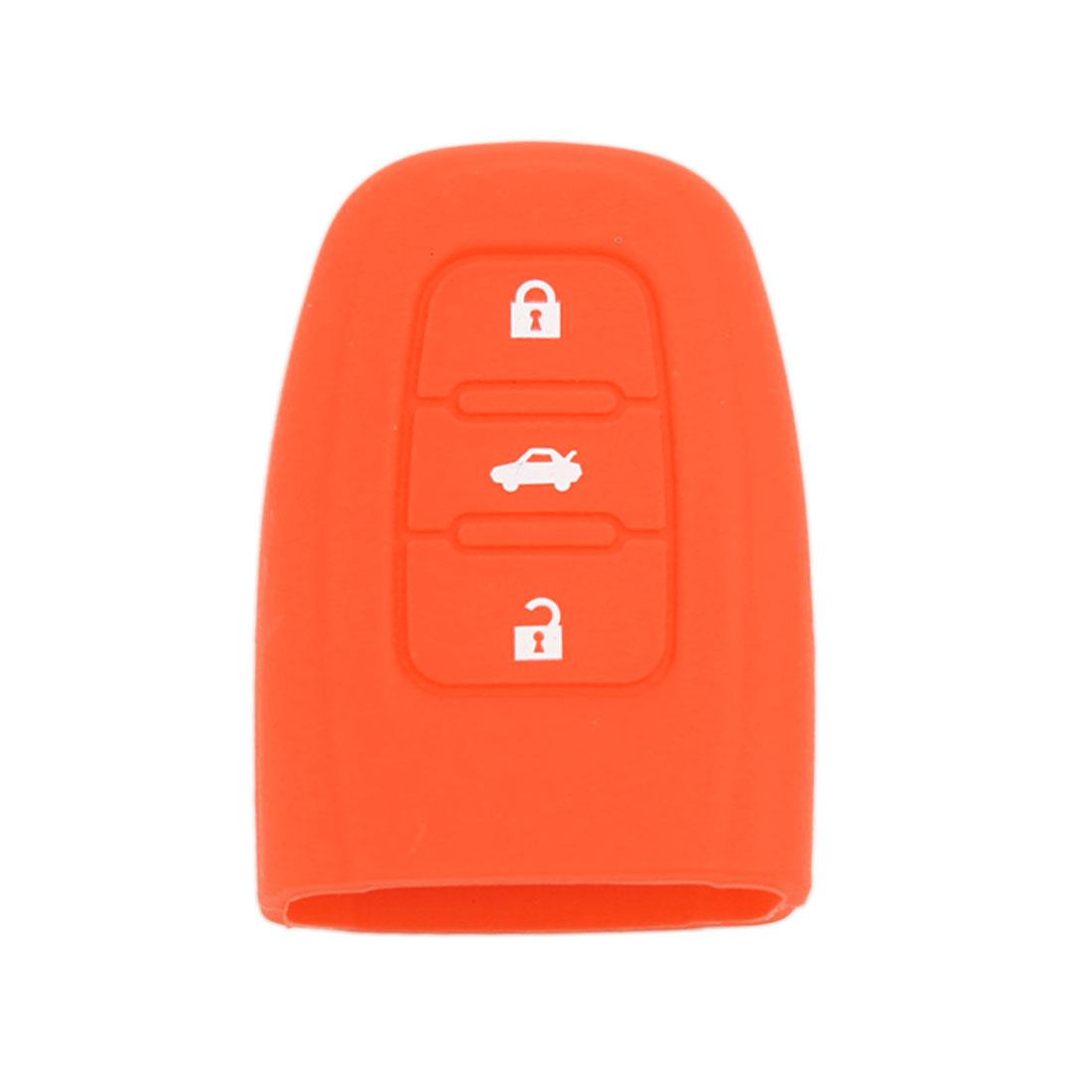 Orange Smart Remote Key Case Silicone Cover for Audi A4L S4 S5 Q5 3 Button
