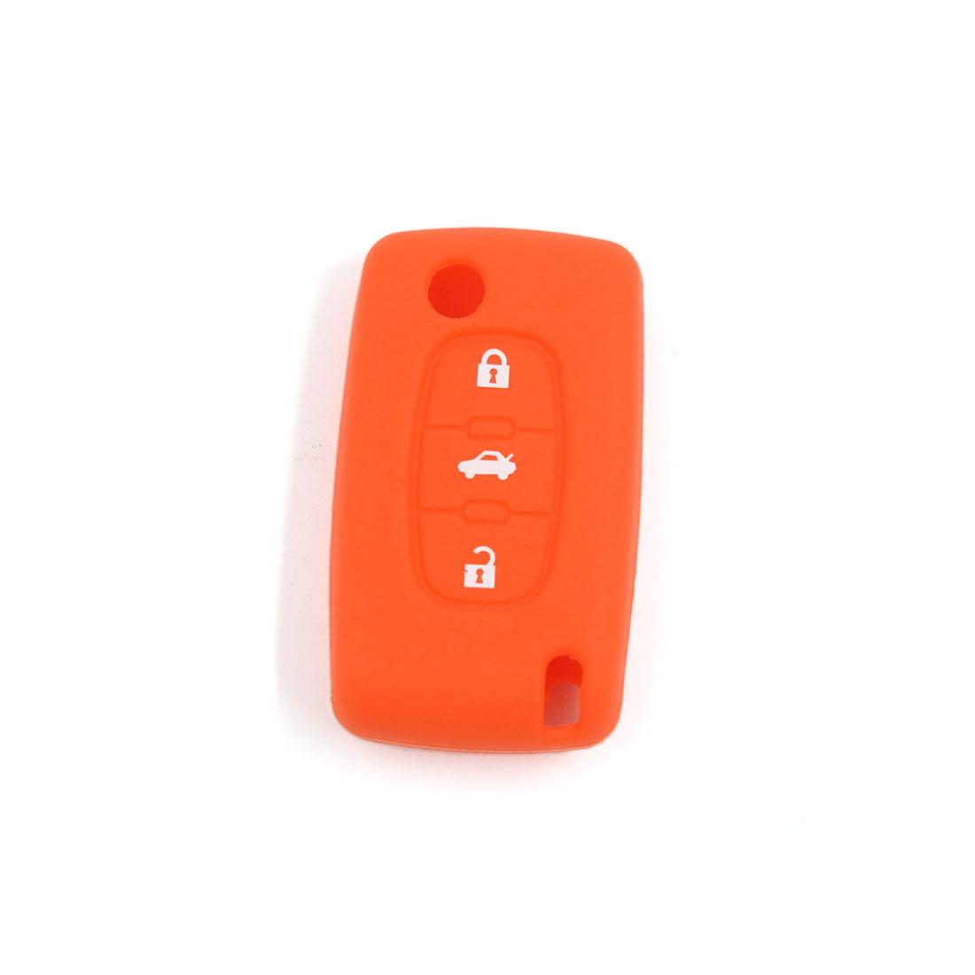 Orange Silicone Key Holder Case Cover Fit For Peugeot 407 307 107 207 607 3BT