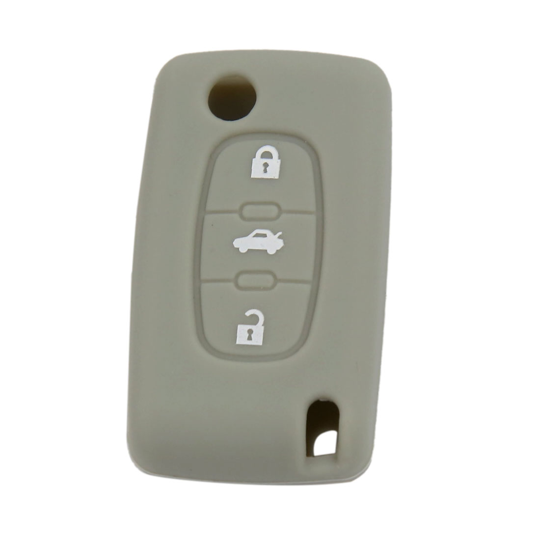 Gray Silicone Case Key Fob Cover 3 Button Fit For Peugeot 407 307 107 207 607