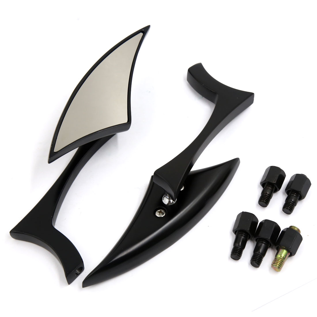 Motorcycle Universal CNC Black Handlebar 10mm/8mm Rear View Side Mirror 2 Pcs