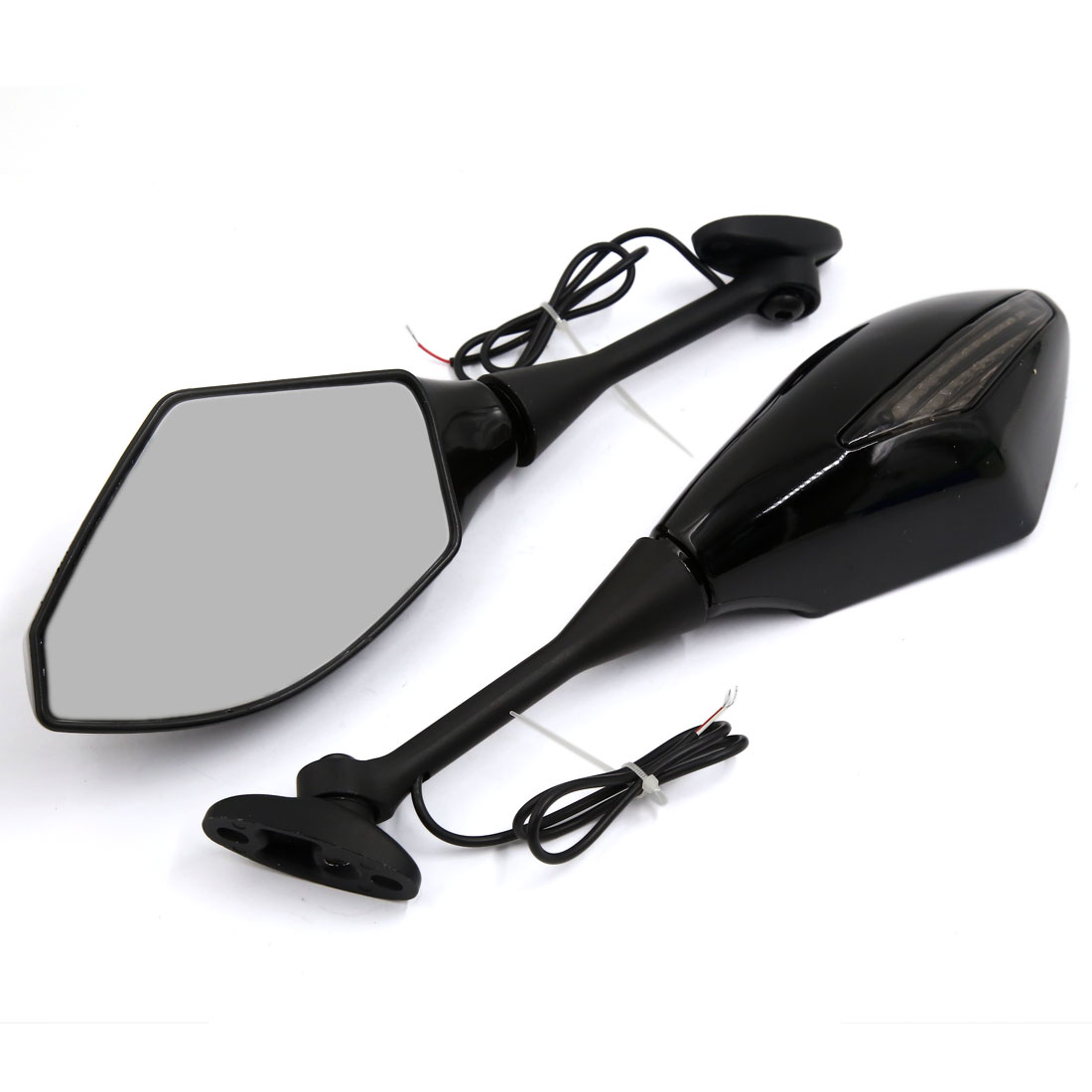 2 Pcs Yellow LED Turn Signal Light Rear View Side Mirror for Motorcycle