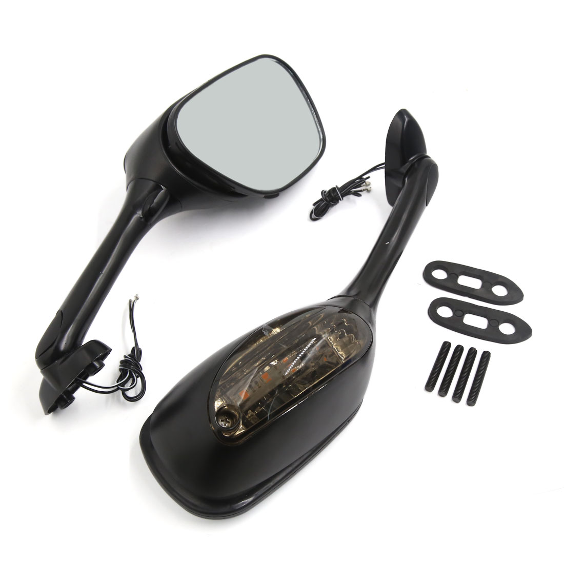 Motorcycle 6mm Thread Hole Dia Yellow LED Light Rear View Side Mirror 2 Pcs