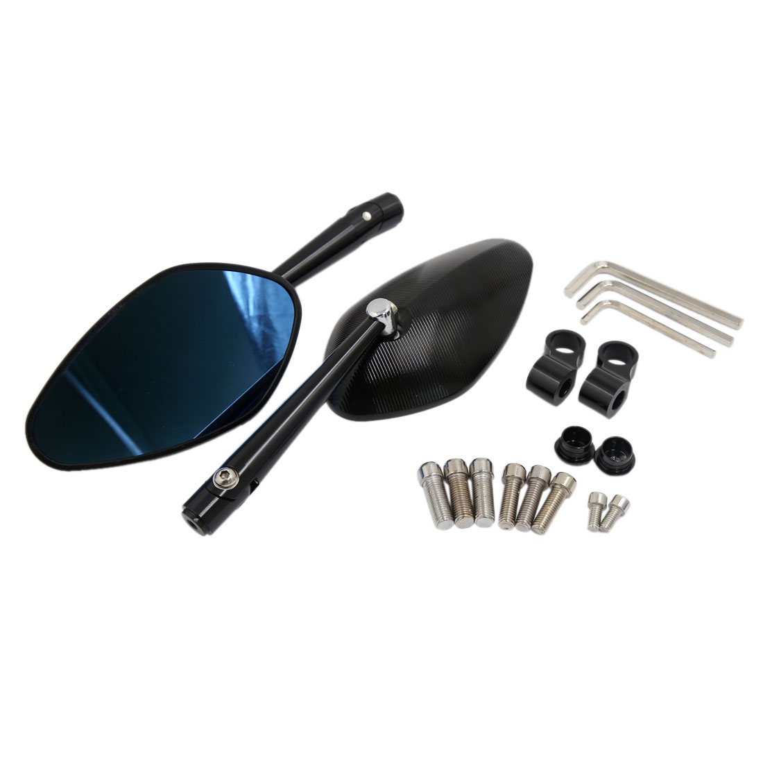 Motorcycle CNC Aluminum Alloy Black Polarized Side Rear View Mirror 2 Pcs