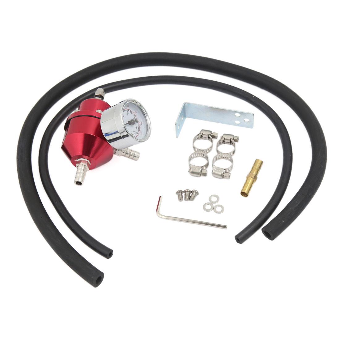 Universal 0-140 PSI Adjustable Fuel Pressure Regulator Gauge Hose Kit Red for Car