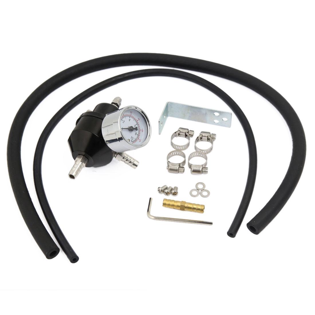 Universal Fuel Pressure Regulator 0-140 PSI Adjustable Gauge Hose Kit Black