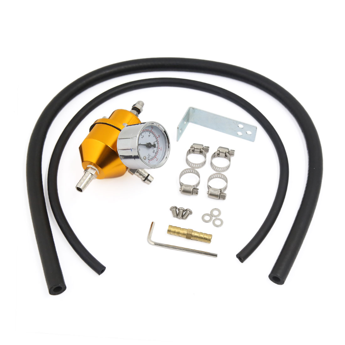 Universal 140 PSI Adjustable 1:1 Fuel Pressure Regulator Gauge Hose Kit Gold Tone for Car