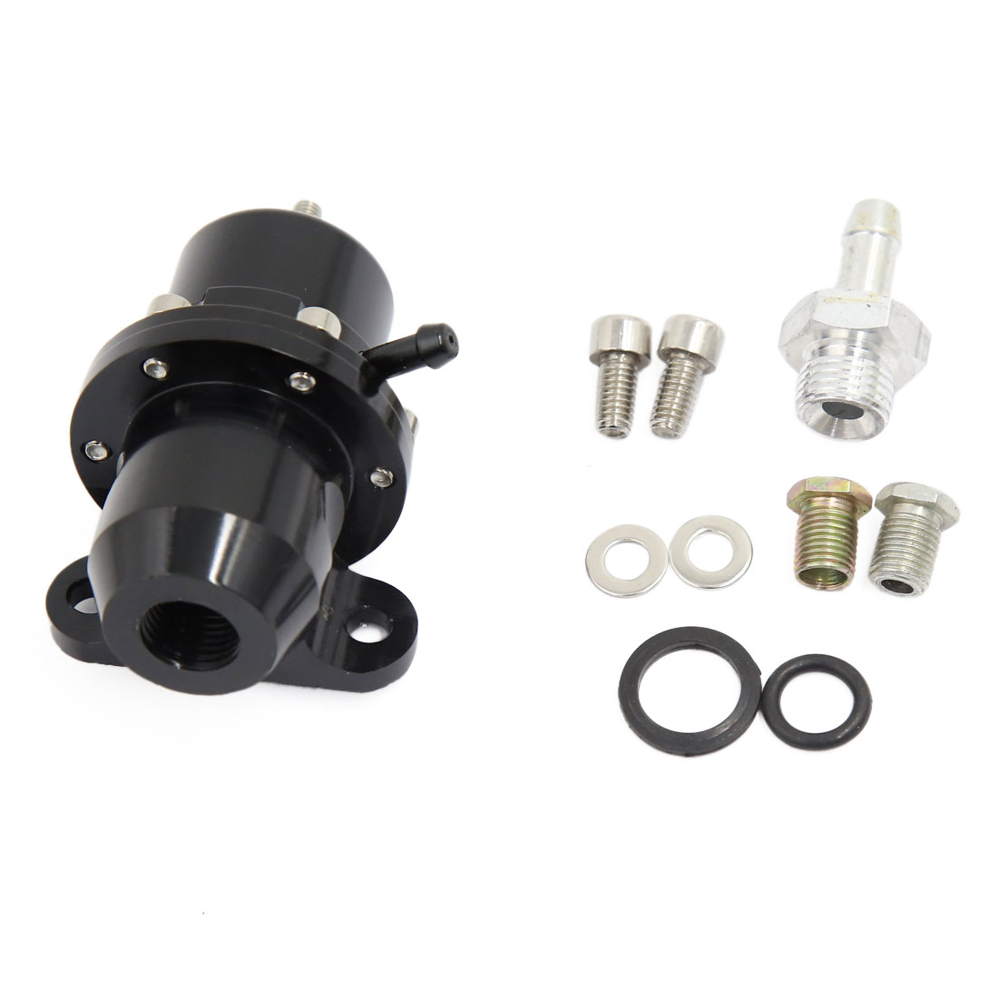 Universal Car Straight 1:1 Ratio Adjustable Fuel Pressure Regulator Black