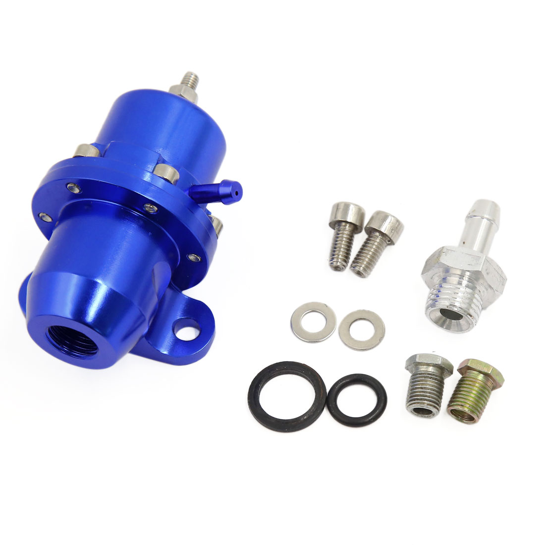 Universal Straight 1:1 Ratio Adjustable Fuel Pressure Regulator Blue for Car