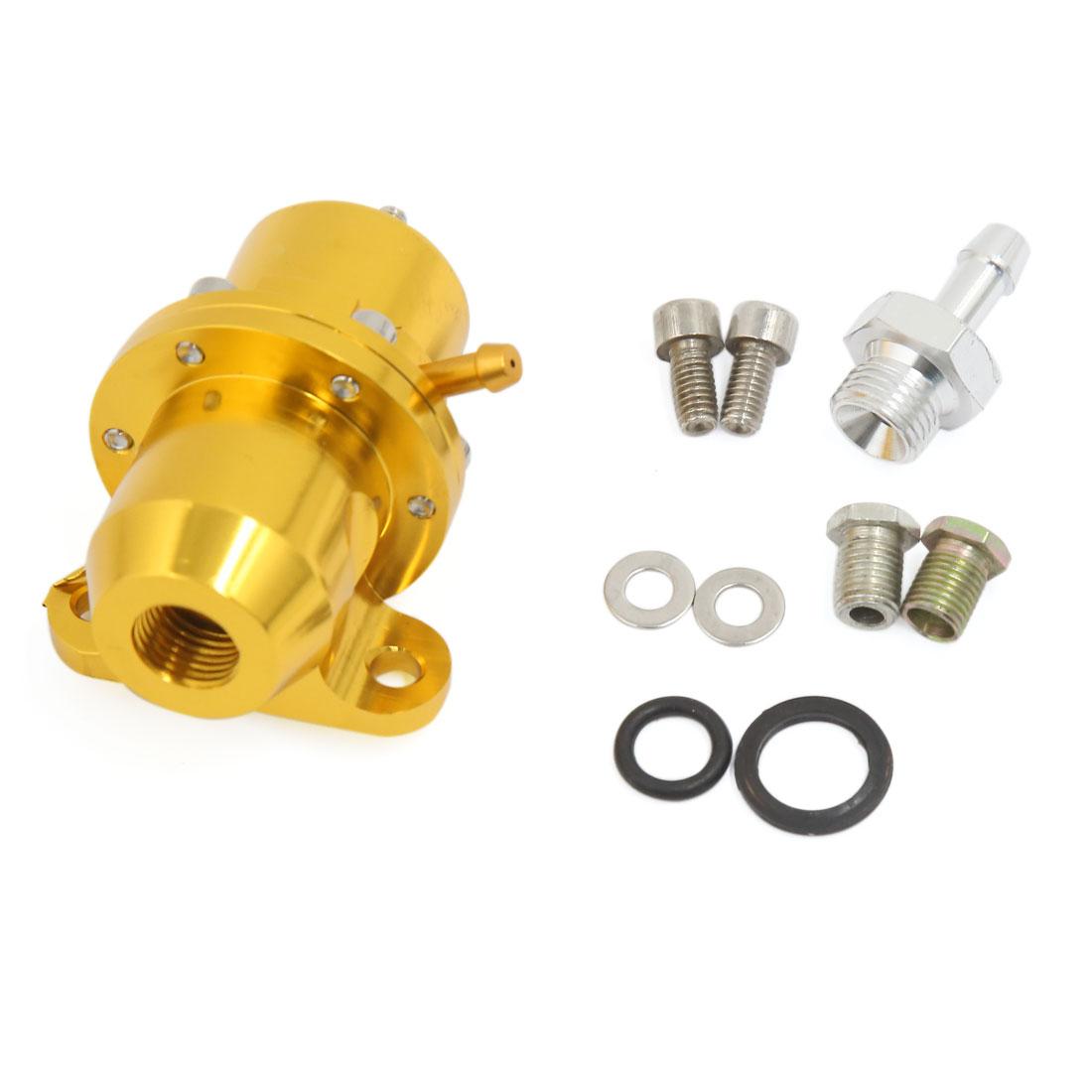 Universal Straight Metal 1:1 Ratio Adjustable Fuel Pressure Regulator Gold Tone for Car