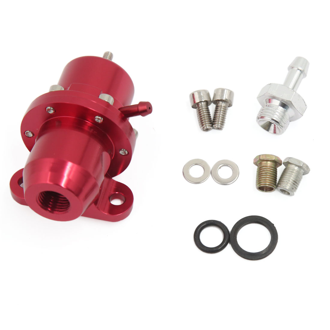 Universal Straight Metal 1:1 Ratio Bolt On Fuel Pressure Regulator Red for Car