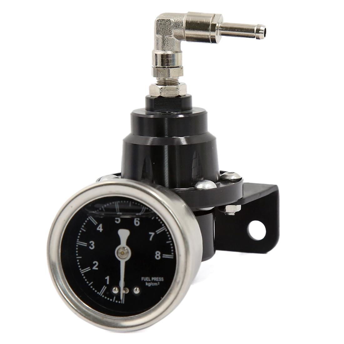 Aluminum Alloy Adjustable Fuel Pressure Regulator Oil Gauge Kit Black