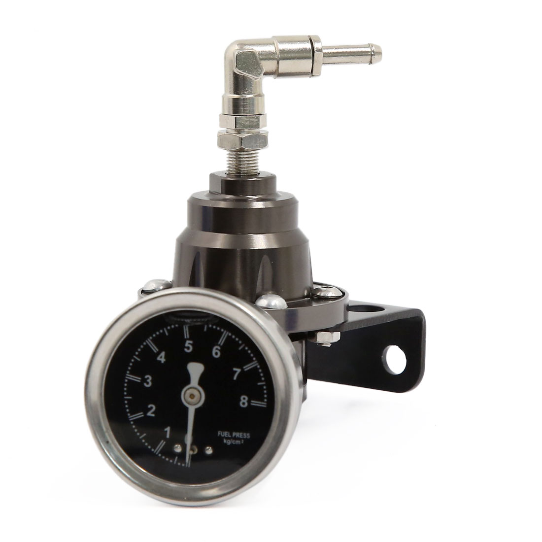 Titanium Tone Aluminum Alloy Adjustable Fuel Pressure Regulator Oil Gauge Kit
