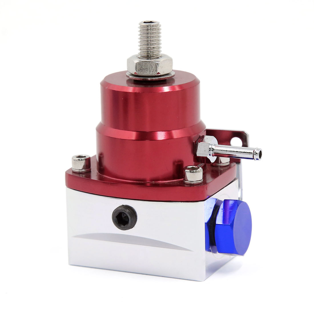 Universal 6AN Port Adjustable Injected Bypass Fuel Pressure Regulator Red Silver Tone
