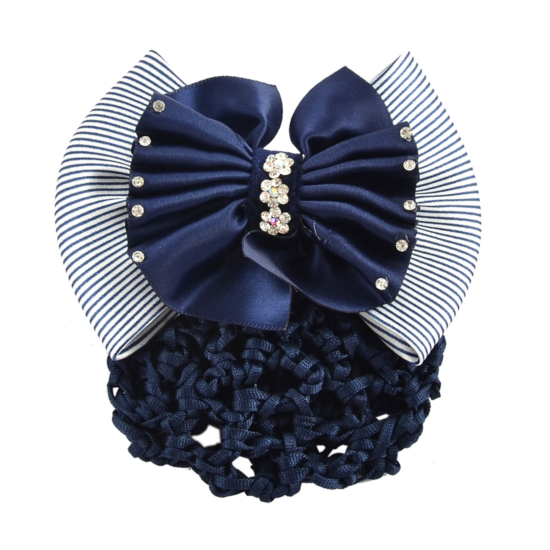 Women Hairstyle Stripes Pattern Bowtie Decor Snood Hair Clip Holder Dark Blue