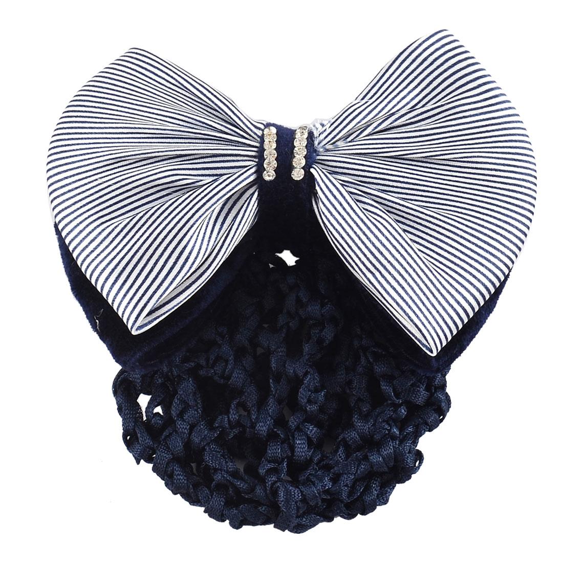 Women DIY Hairstyle Stripe Pattern Bowtie Decor Snood Hair Clip Holder Dark Blue