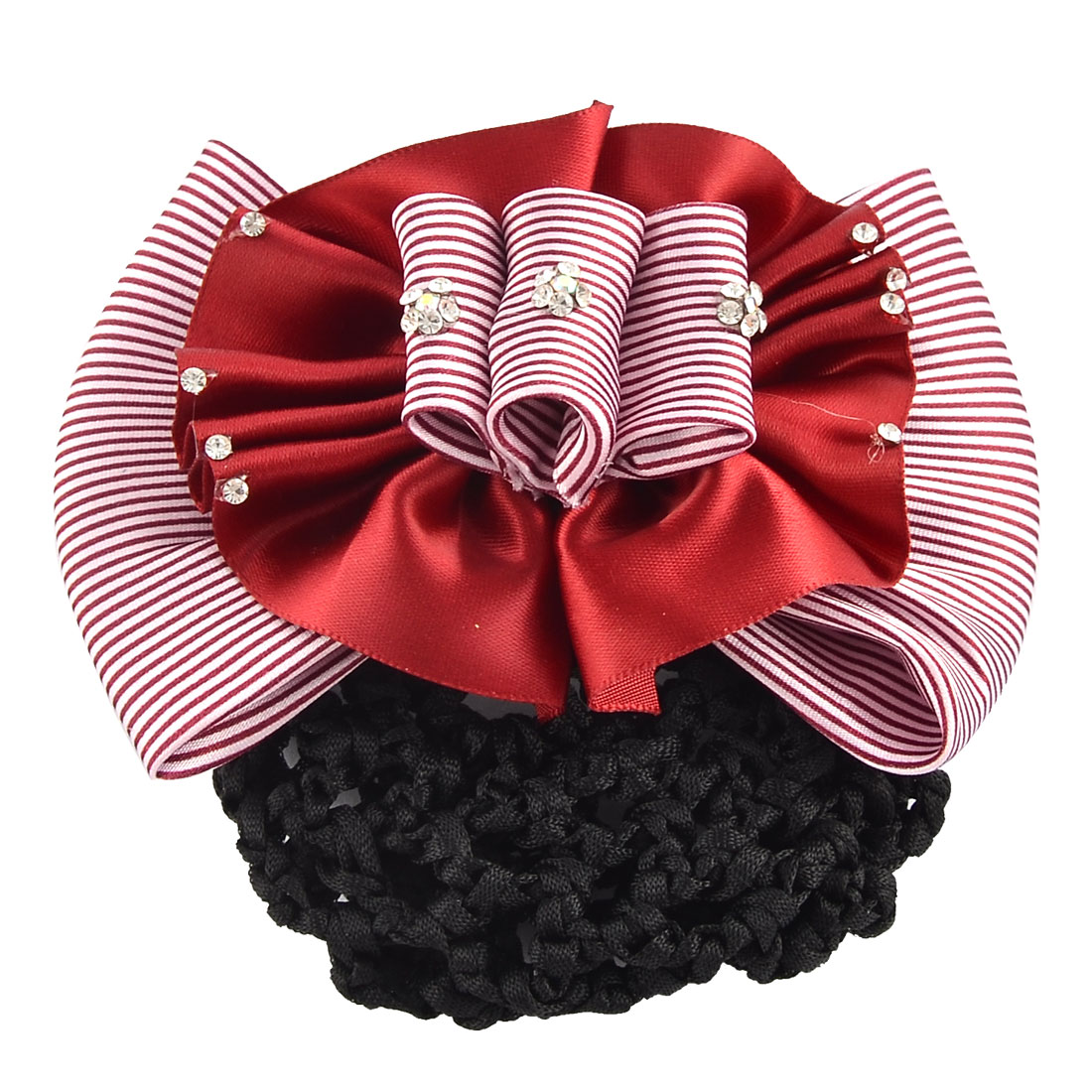 Women DIY Hairstyle Stripe Pattern Bowtie Barrette Snood Net Hair Clip Red