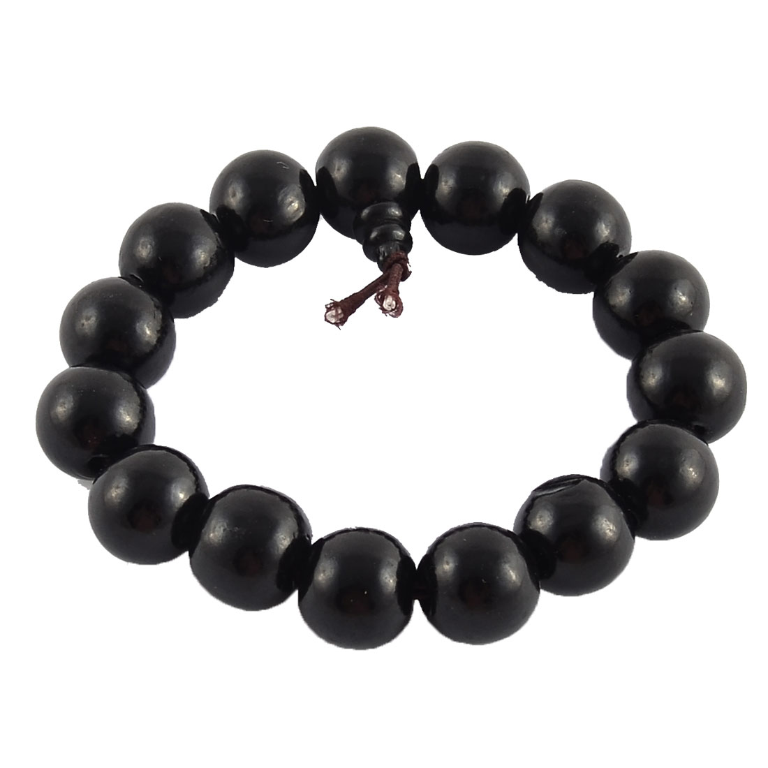 Plastic Round Beads Stretch Handmade Craft Prayer Wrist Bangle Bracelet Black