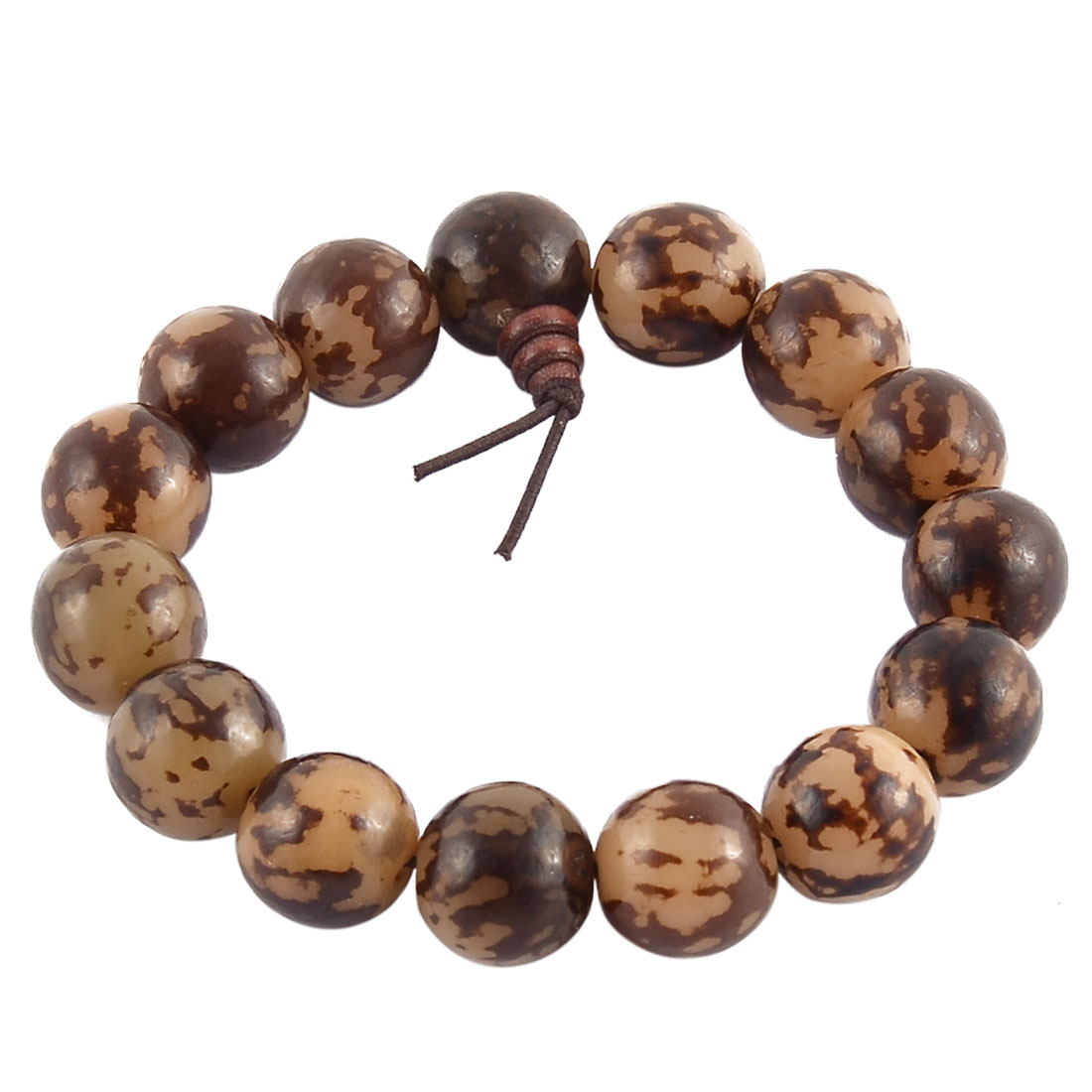 Handmade DIY Craft Stretch Round Beads Prayer Wrist Bangle Bracelet Brown