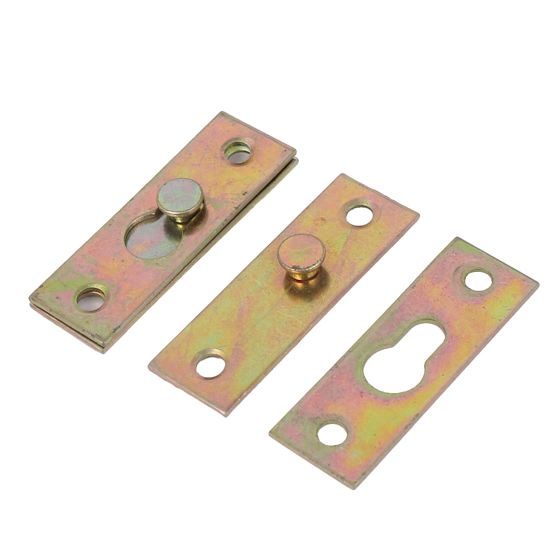 Furniture Bed Rail Hook Plate Bracket Connector Brass Tone 2pcs