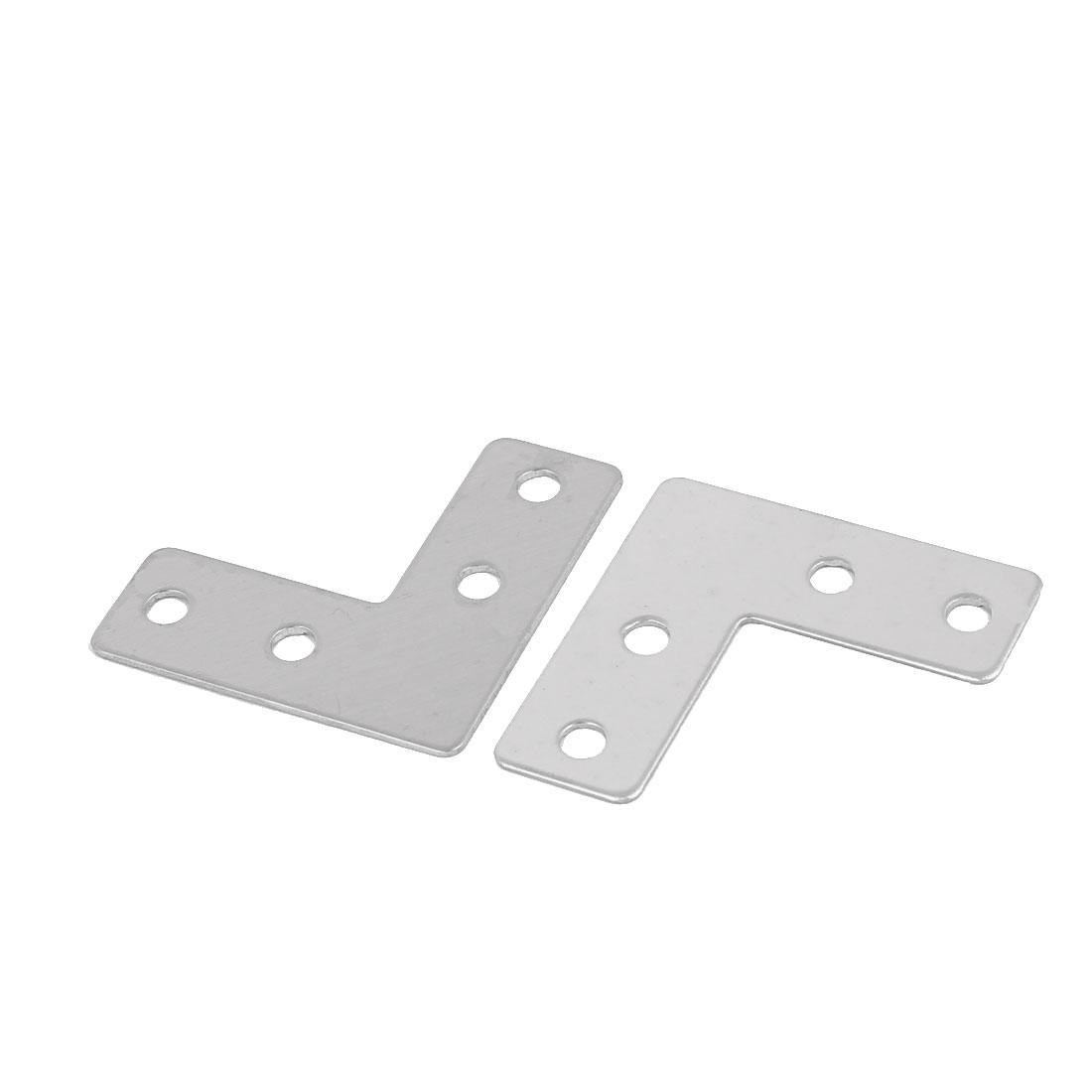 40mmx40mm L Shaped 4 Holes Flat Stainless Steel Angle Corner Brace 2 Pcs