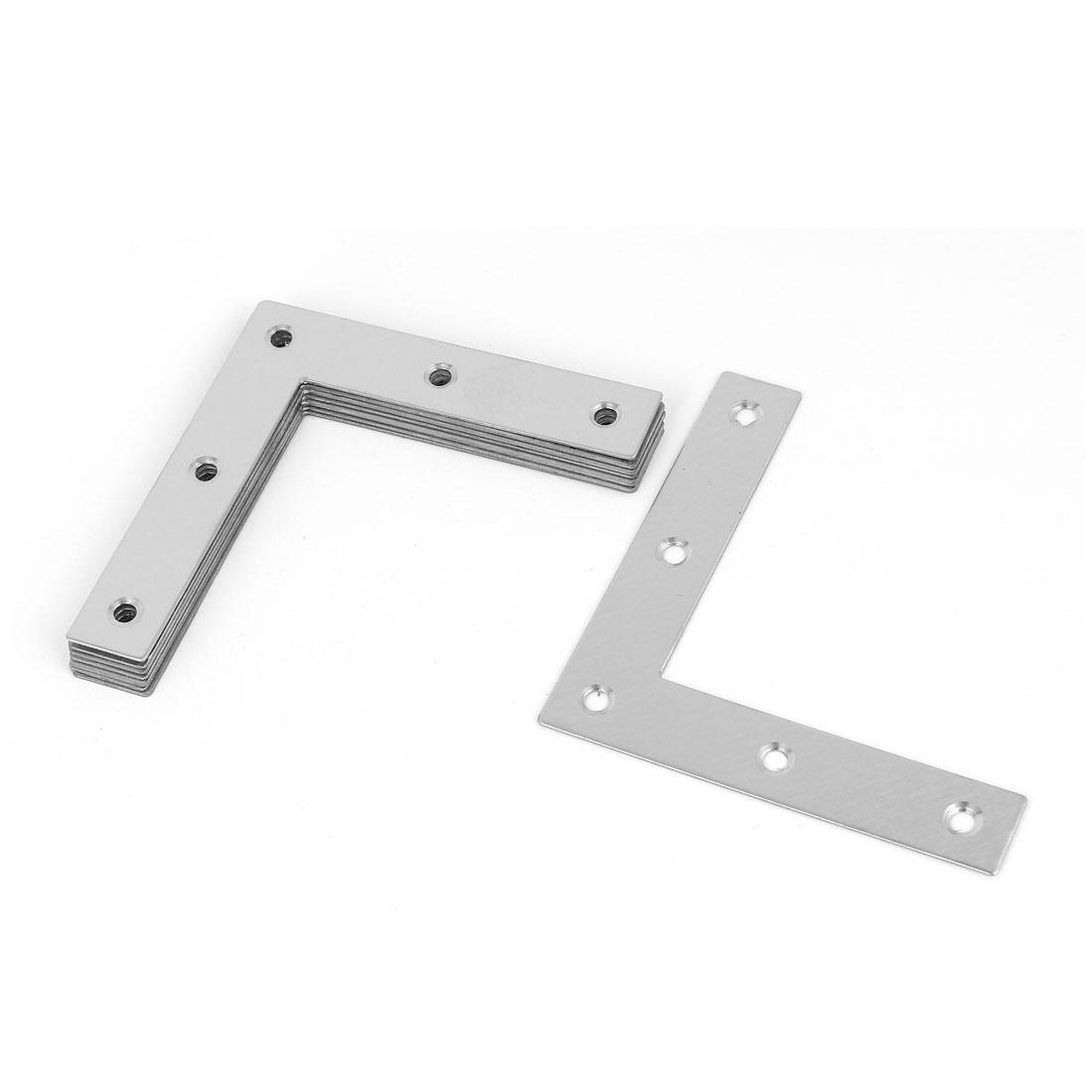 8pcs 80mmx80mm L Shaped Stainless Steel Angle Bracket Corner Brace Silver Tone