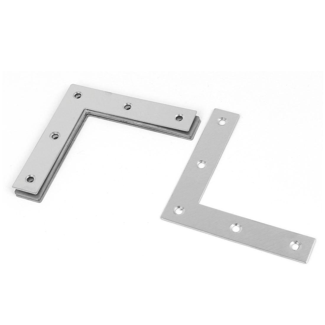 5pcs 80mmx80mm L Shaped Stainless Steel Angle Bracket Corner Brace Silver Tone