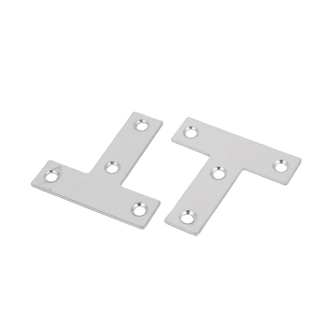 50mmx50mm T Shaped Stainless Steel Angle Bracket Corner Brace Silver Tone 2 Pcs