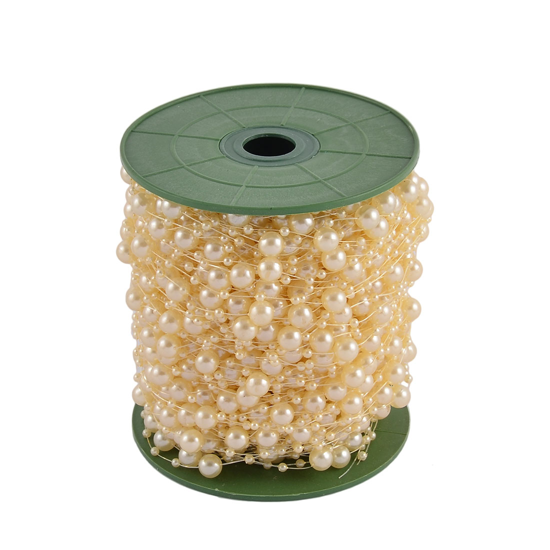 Festival Party Crafting DIY Garland Flower Table Decoration Imitation Pearl Beads String Roll Light Yellow