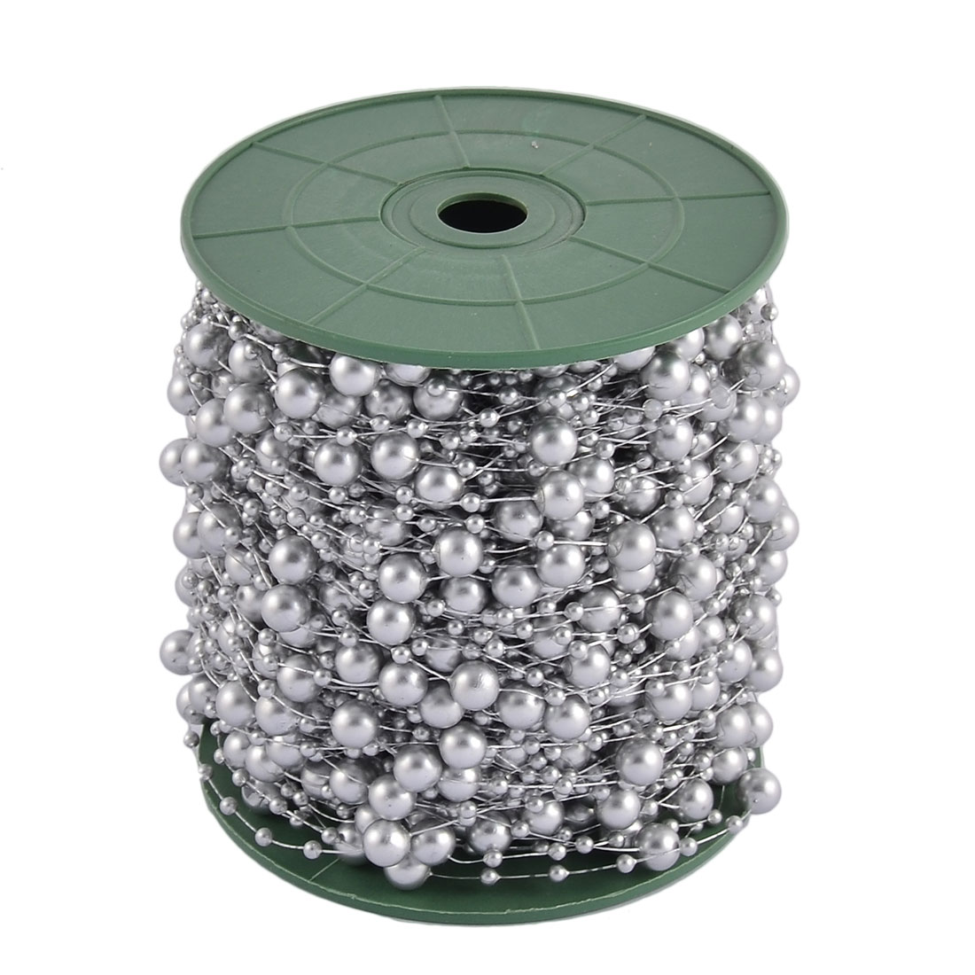 Festival Party Crafting DIY Garland Flower Table Decoration Imitation Pearl Beads String Roll Silver Tone
