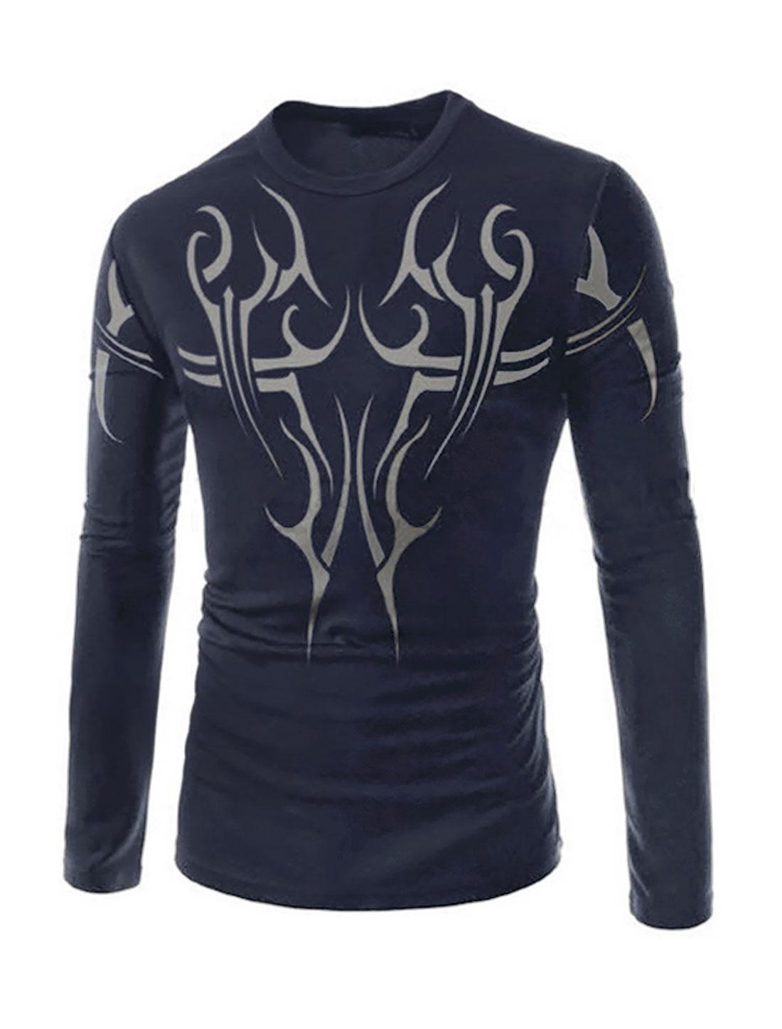 Men Round Neck Novelty Prints Long Sleeve Slim Fit Tee Shirt Blue M