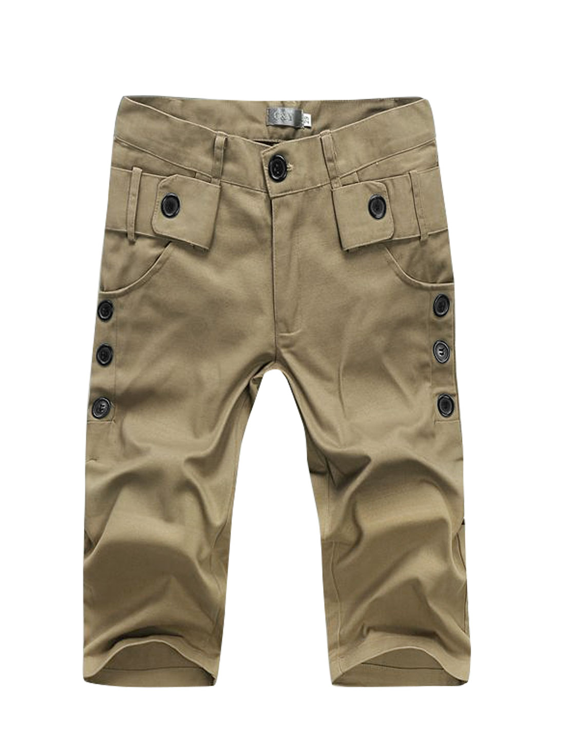 Men Mid Rise Buttons Decor Knee Length Straight Shorts Brown W30