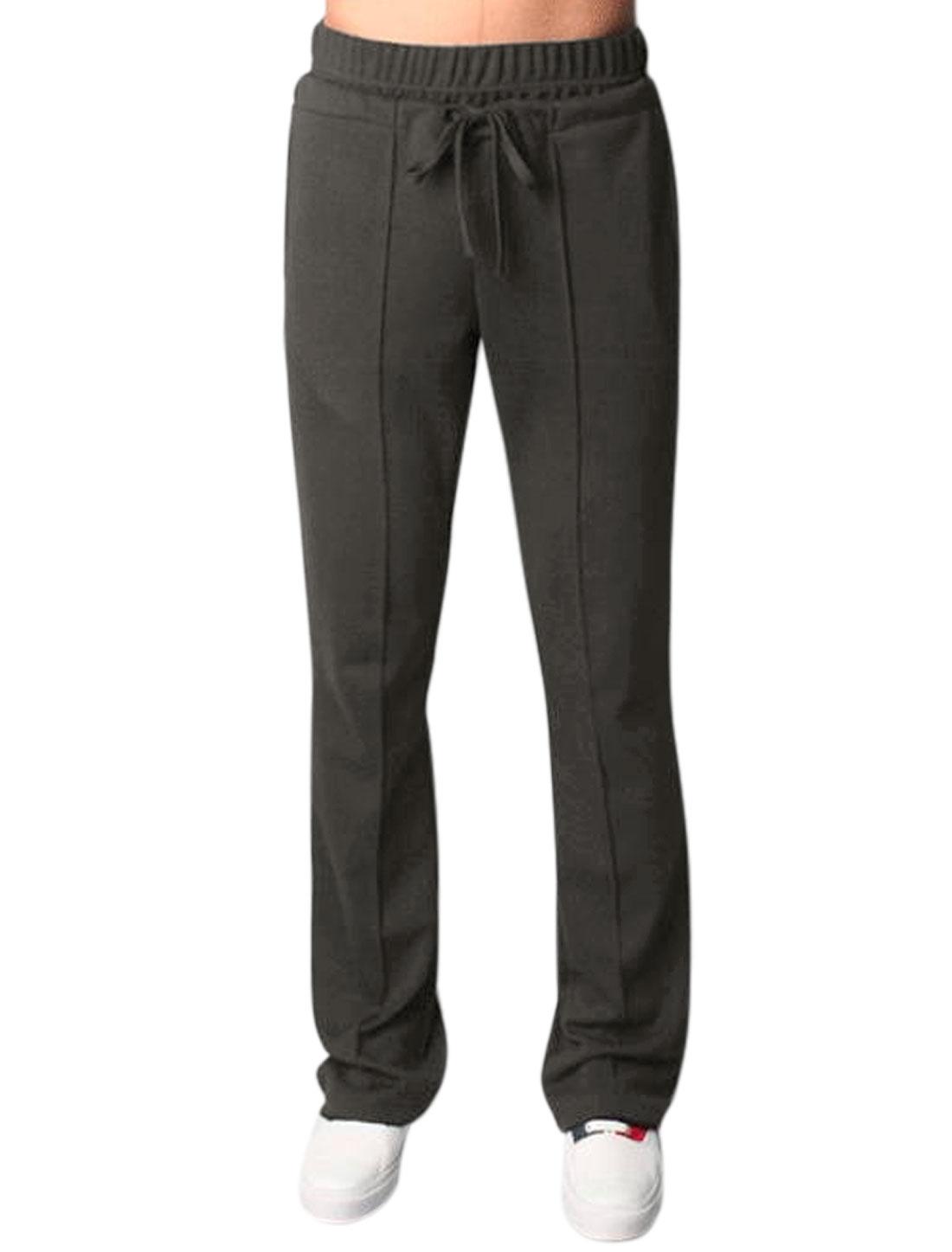 Men Drawstring Waist Decorative Seams Athletic Pants Gray S