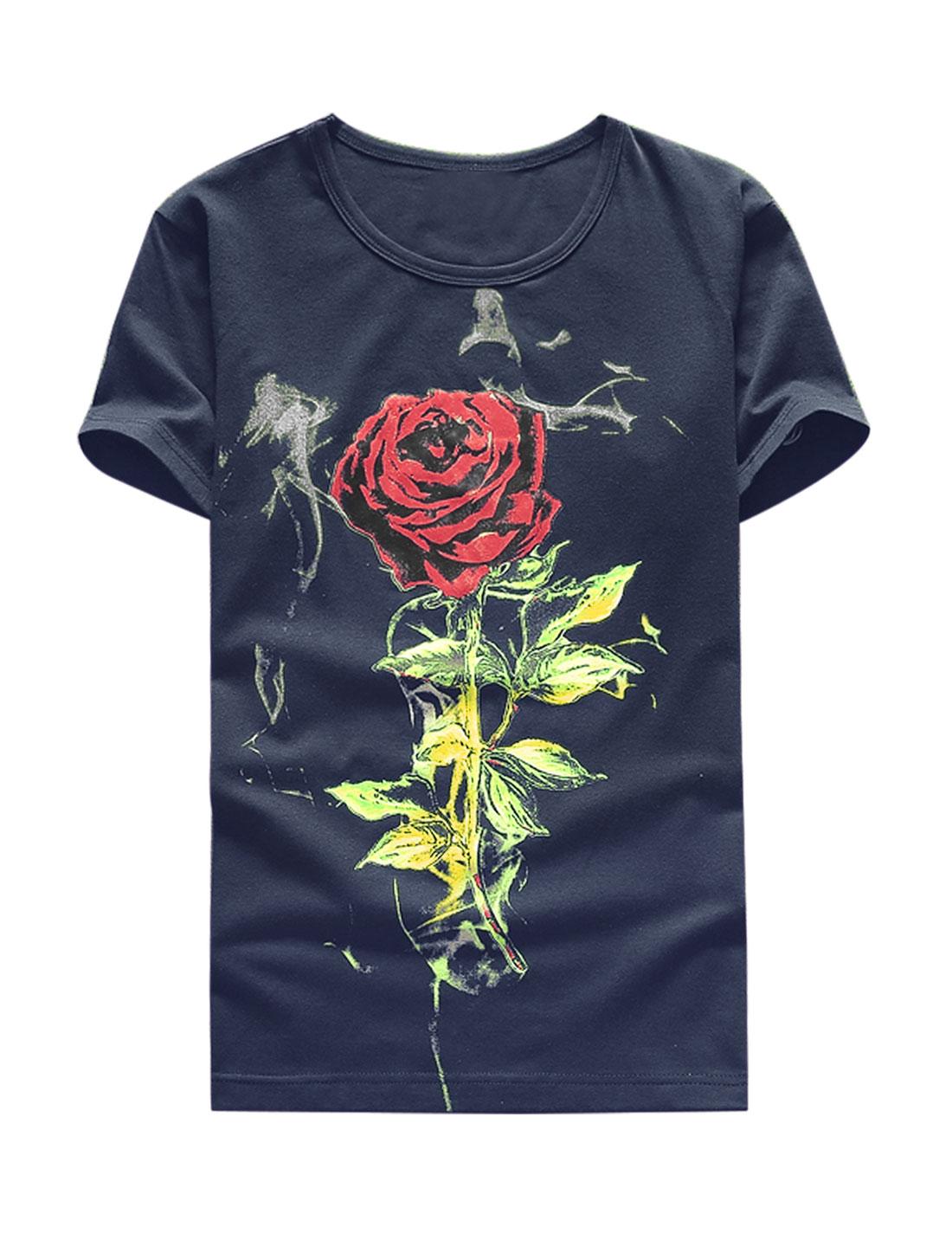 Men Floral Print Short Sleeves Slim Fit Tee Shirt Blue M