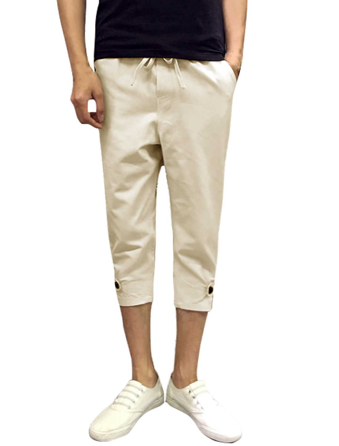 Men Drawstring Elastic Waist Pockets Capri Pants Beige W30