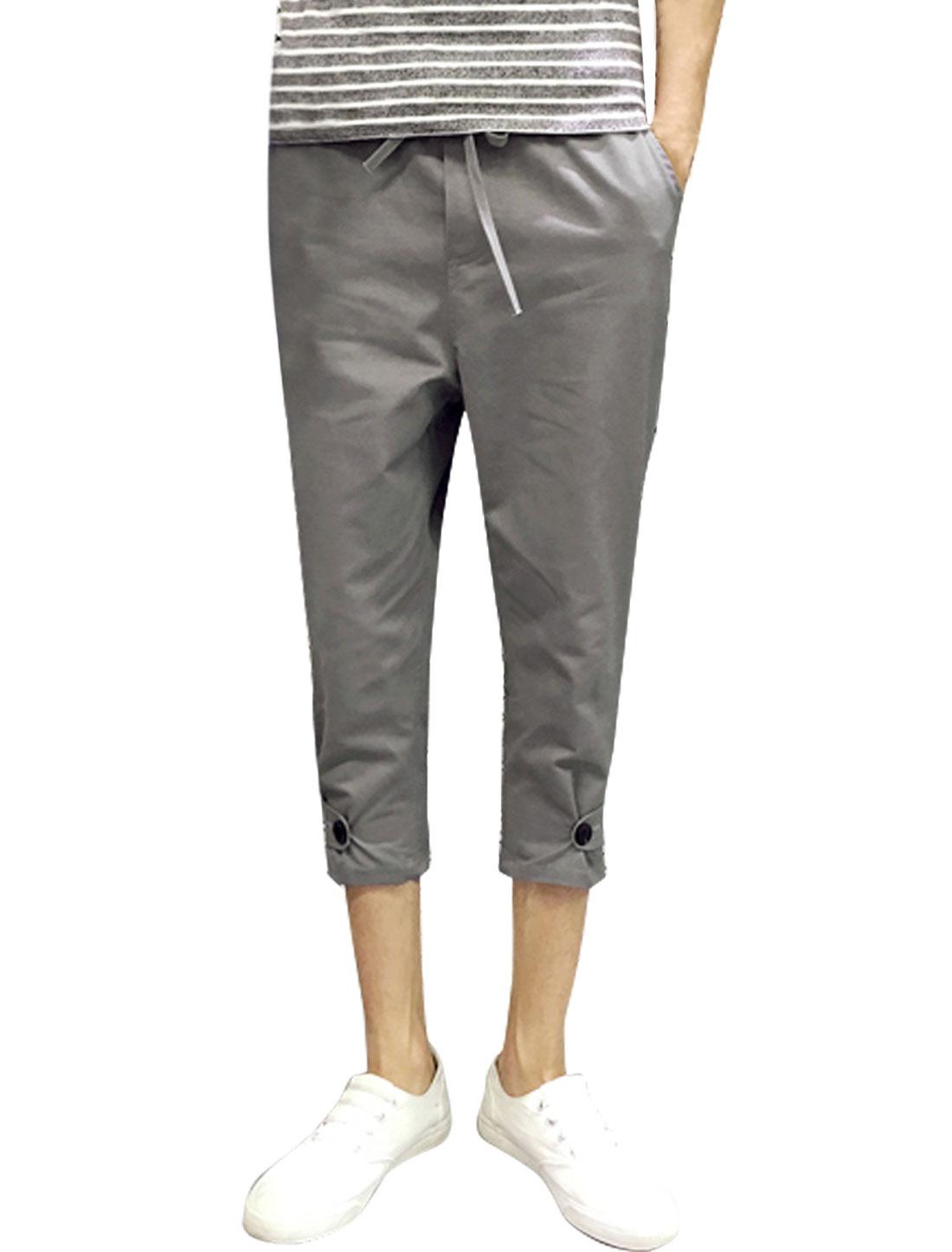 Men Drawstring Elastic Waist Pockets Capri Pants Gray W32