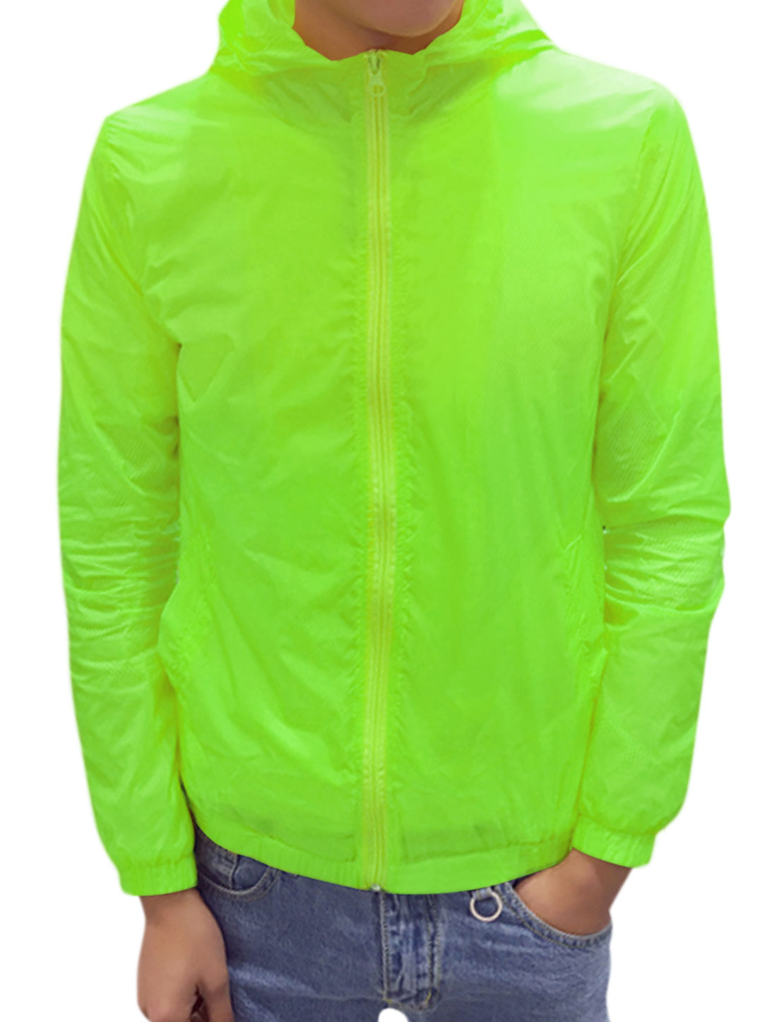 Men Long Sleeves Zippered Slant Pockets Hooded Jacket Green S