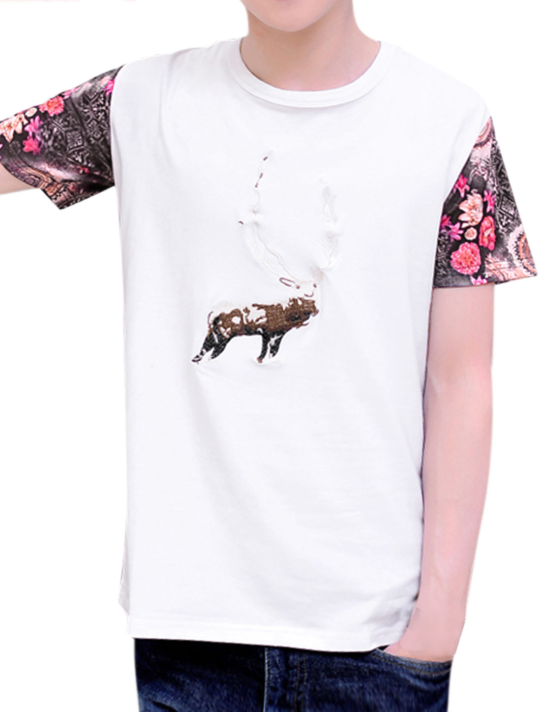 Men Deer Embroidery Floral Prints Short Sleeves T-Shirt White M