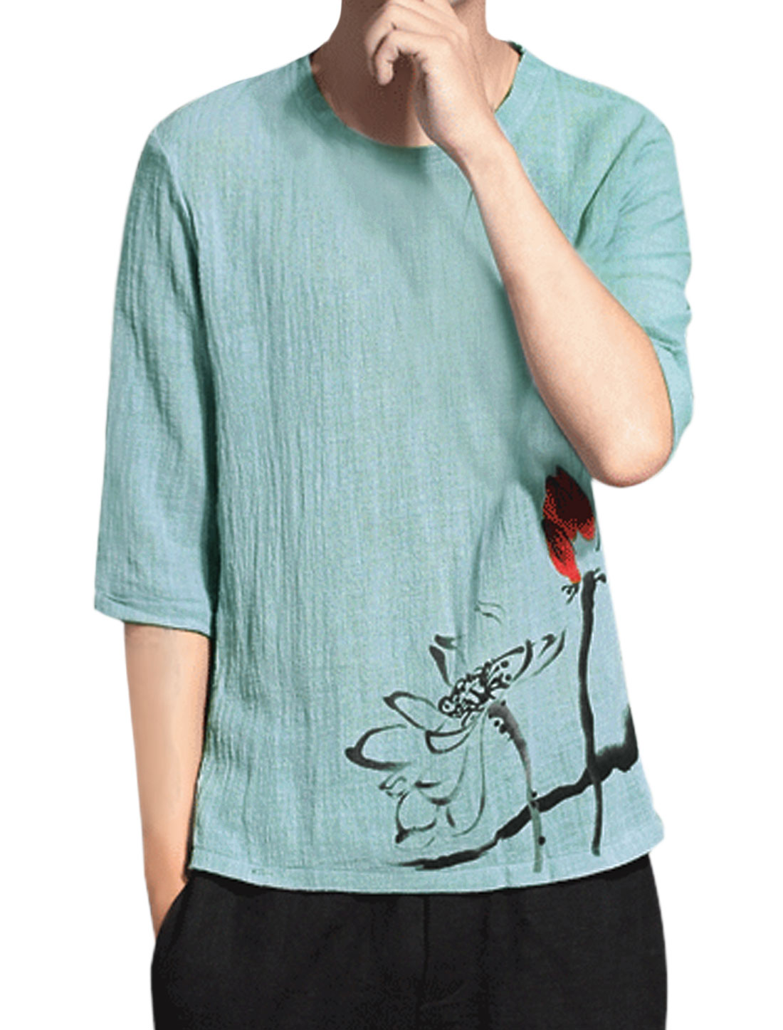 Men Floral Prints 3/4 Sleeve Round Neck Split Side T-Shirt Blue M