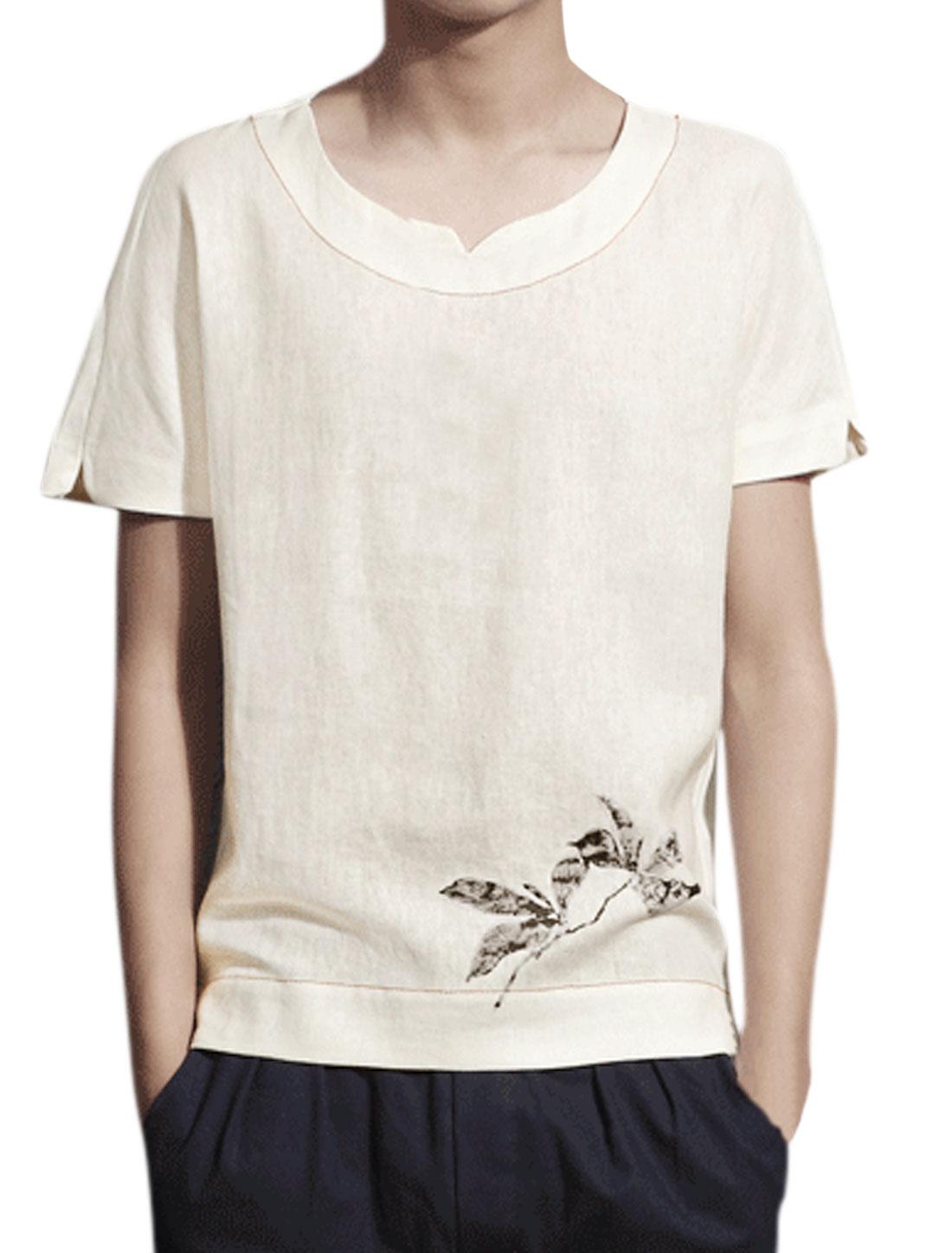 Men Floral Prints Split Neck Short Batwing Sleeve Tee Shirt White M