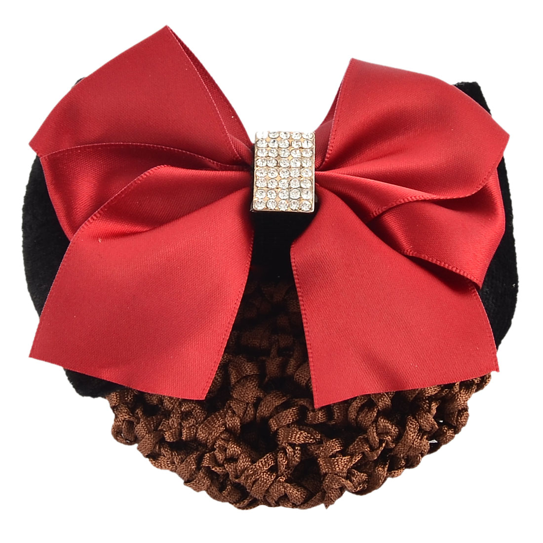 Women Hairdressing Bowtie Accent Barrette Hair Clip Snood Hairclip Net Tricolor