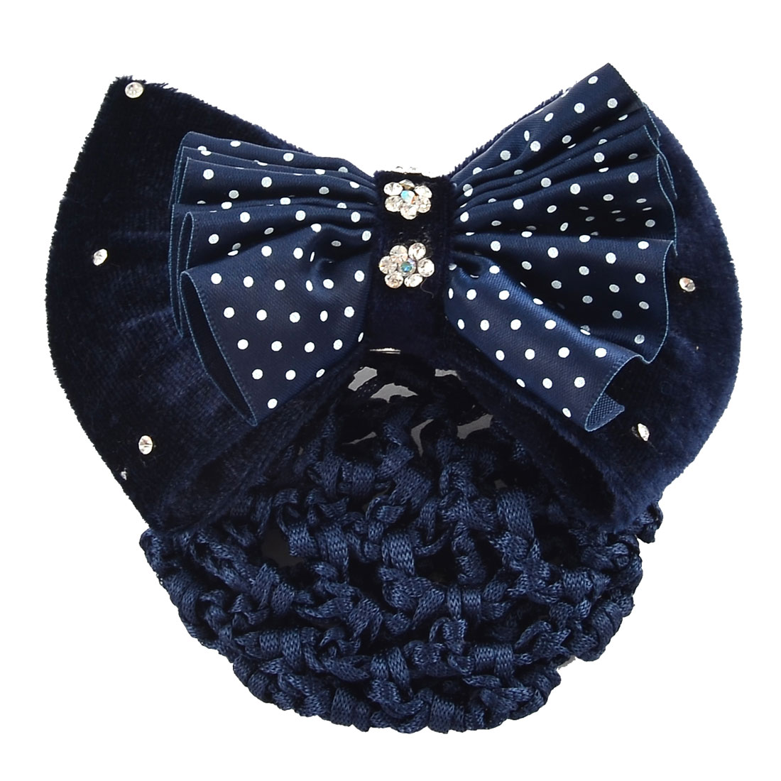 Women Hairdressing Dots Pattern Bowtie Barrette Hair Clip Snood Hairclip Blue