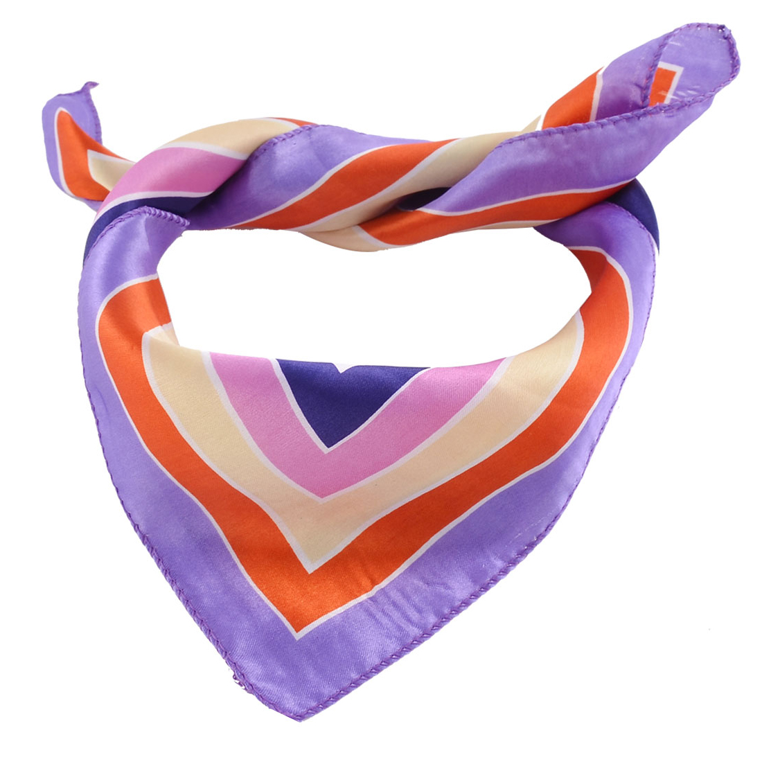 Lady Polyester Square Grid Pattern Scarf Neckerchief Shawl Colorful 51cm x 51cm