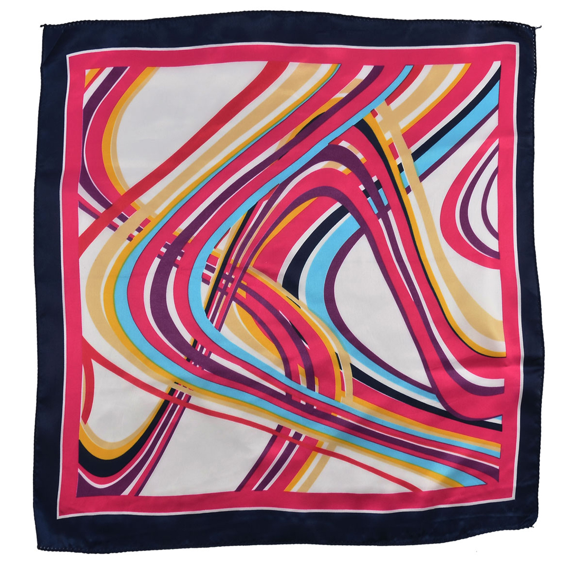 Lady Polyester Novelty Pattern Square Scarf Neckerchief Colorful 50cm x 49cm
